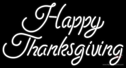 Cursive Happy Thanksgiving Neon Sign