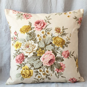 Cream Vintage Floral Linen Cushion
