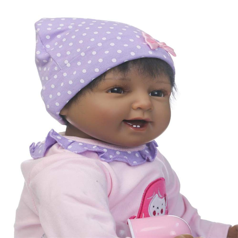 "Minidiva Reborn Baby Doll, 100% Handmade Soft Silicone 22"" /55cm Lifelike Newborn Doll Black Girl for Children-RB104 - MiniDiva"