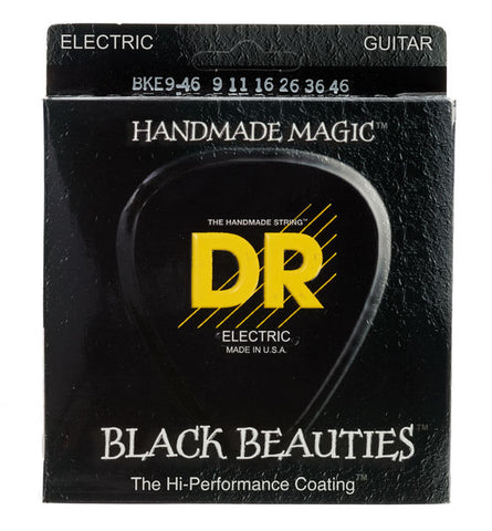 DR USA Electric Guitar Strings Extra Life Black Beauties 9-42