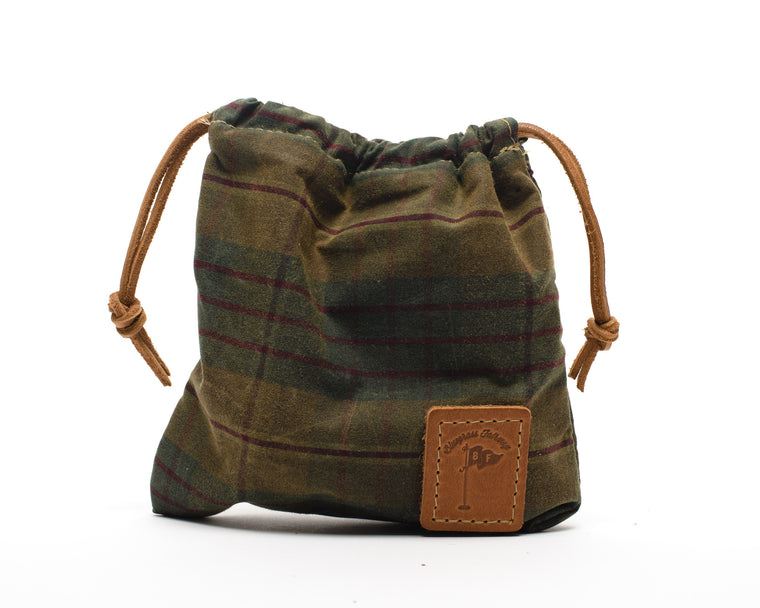 Waxed Canvas Golf Valuables Field Pouch in British Tartan
