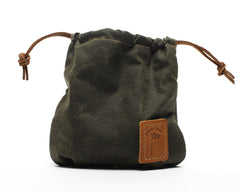 Waxed Canvas Golf Valuables Field Pouch in Olive Green