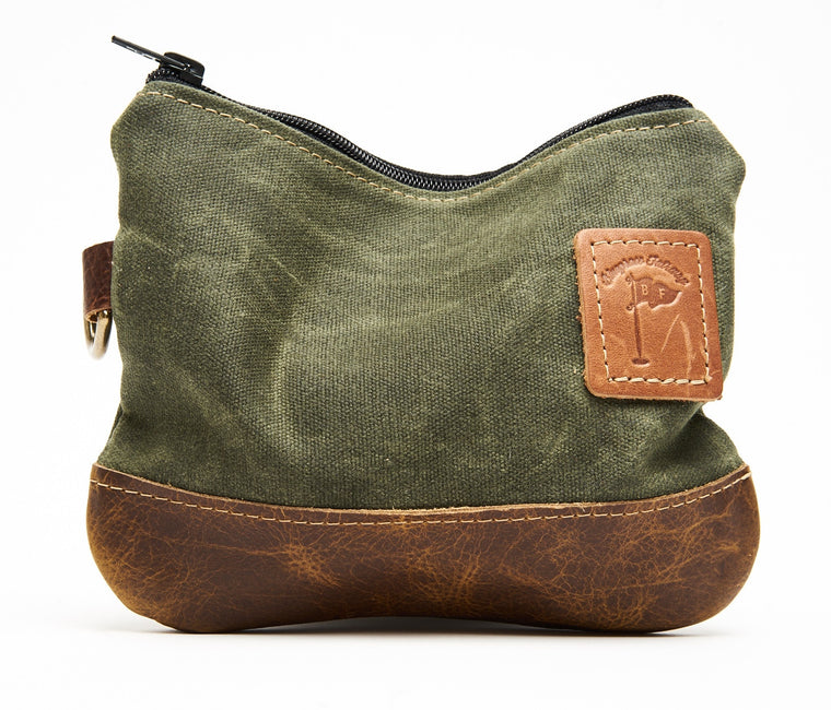 Waxed Canvas Zippered Golf Valuables Field Pouch in Olive Green