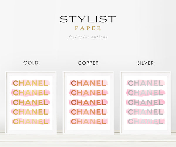 Pink Watercolor Stripes with Gold Foil Chanel Details on Crisp White Background with Real Gold Foil Art Print 8x10, A3, A4, A5 Chanel Art