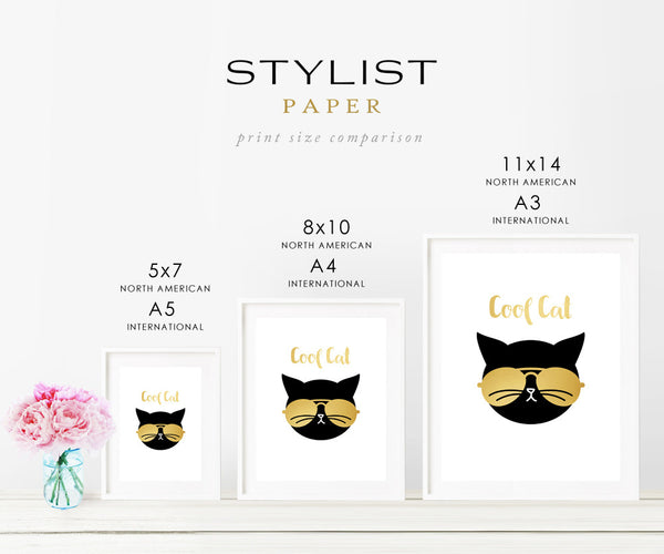 Gold Foil Cat Art Print