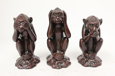 Hardened Clay 3 Monkey Figurine See no Evil Hear no Evil Speak no Evil Vietnam