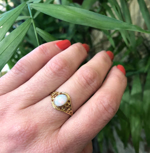 Vintage Yellow Gold Filigree Opal Ring