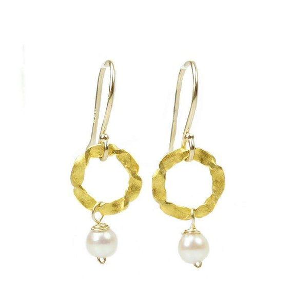 Twisted O Earrings by Brunet with Vintage Pearl Drop