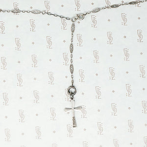 Delicate Art Deco Era Silver Necklace and Cross