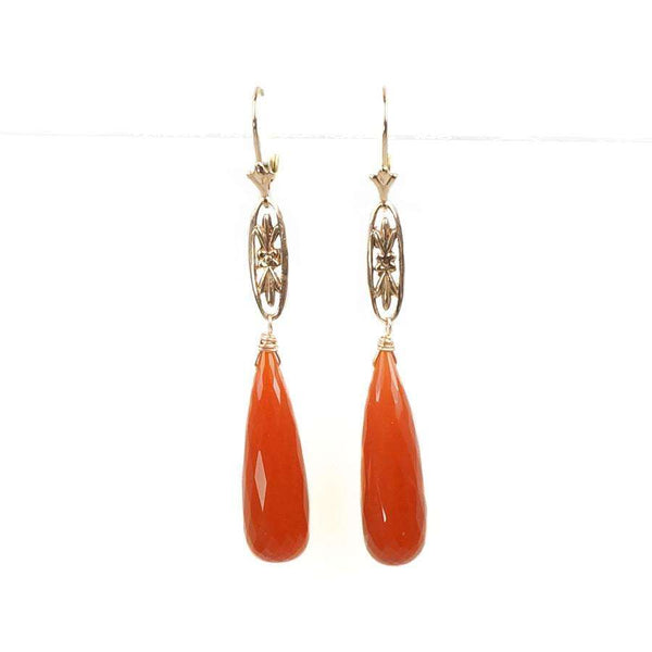 The Marché Pendant Drop Earrings by Brunet with Faceted Carnelian Tear Drops