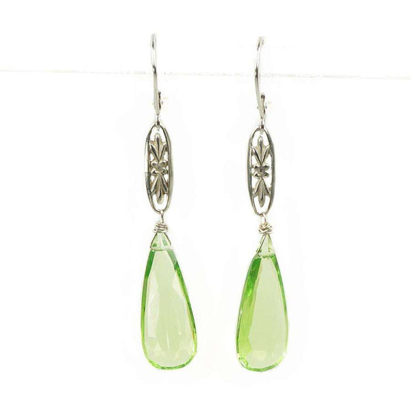 The Marché Pendant Drop Earrings by Brunet White Gold with Faceted Peridot