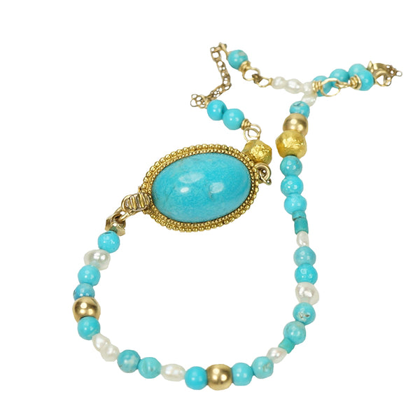 Gold Turquoise and Pearl Bracelet by Brunet