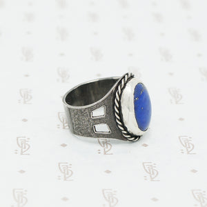 handmade lapis and sterling ring side view