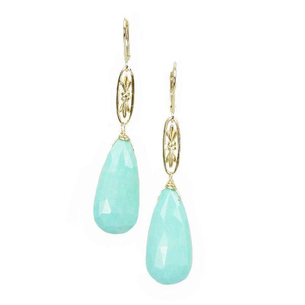 The Marché Pendant Drop Earrings by Brunet with Faceted Blue Turquoise Drops