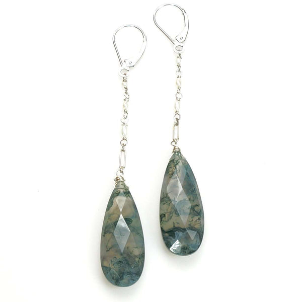 White gold Faceted Moss Agate Pendant Ear Drops by brunet