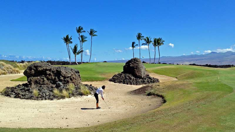 Waikoloa Kings Golf Course 5th hole approach from bunker