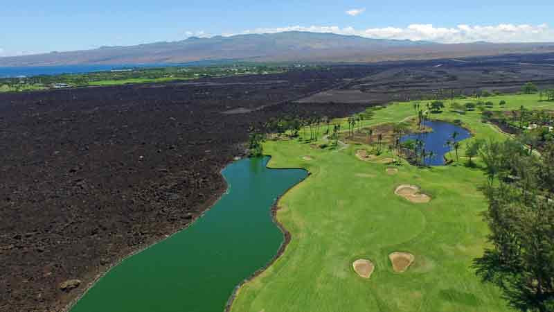 The second, third and seventh holes at Waikoloa Kings