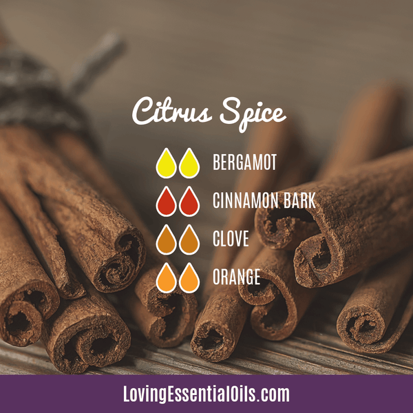 Bergamot Diffuser Blends - Relax and Uplift Your Senses! by Loving Essential Oils | Citrus Spice with bergamot, cinnamon bark, clove, and orange essential oil