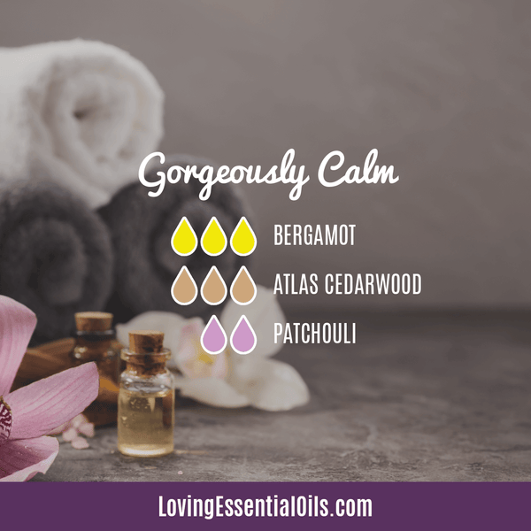Bergamot Diffuser Blends - Relax and Uplift Your Senses! by Loving Essential Oils | Gorgeously Calm with bergamot, atlas cedarwood, and patchouli essential oil
