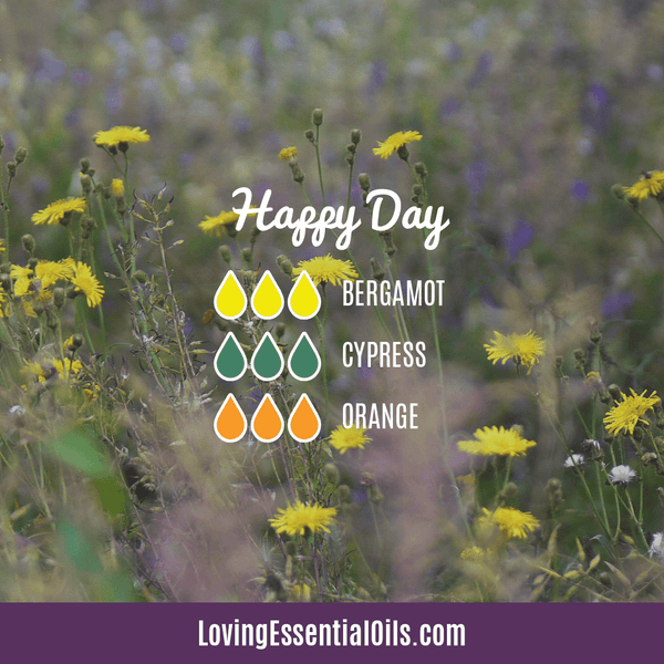 Bergamot Diffuser Blends - Relax and Uplift Your Senses! by Loving Essential Oils | Happy Day with bergamot, cypress, and orange essential oil
