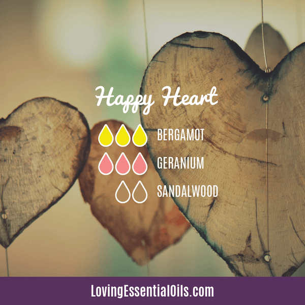 Bergamot Diffuser Blends - Relax and Uplift Your Senses! by Loving Essential Oils | Happy Heart with bergamot, geranium, and sandalwood essential oil