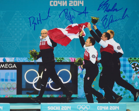 2014 TEAM CANADA OLYMPIC MEN'S CURLING TEAM SIGNED 8X10 PHOTO