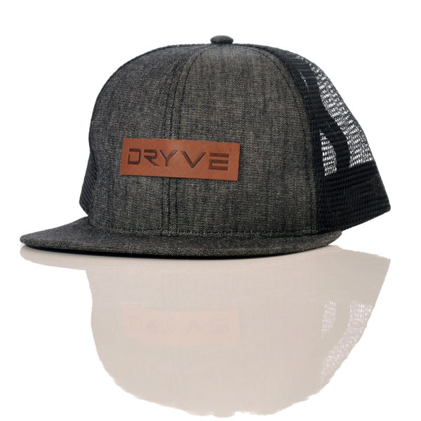 Leather and Denim Snapback Hat