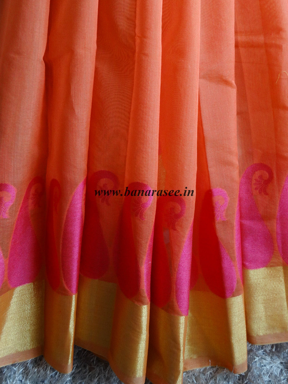 Banarasee Chanderi Cotton Saree Paisley Buti Design-Orange