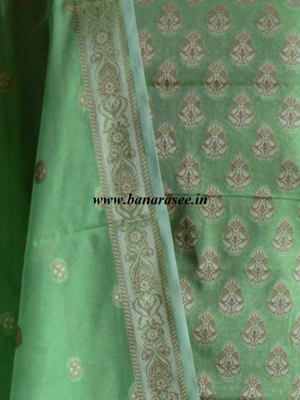 Banarasee/Banarasi Salwar Kameez Cotton Silk Resham Woven With Floral Jaal Fabric-Bright Green