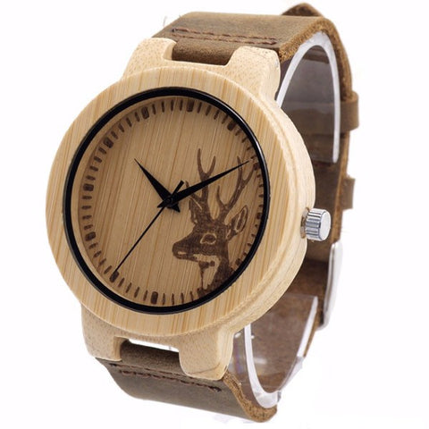 Bamboo Watch - Elk Deer Head Bamboo Watch With Leather Strap