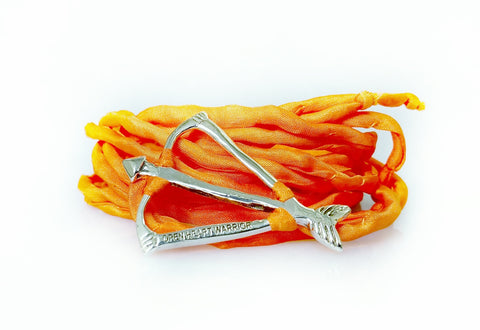 Open Heart Warrior Bow and Arrow Signature Orange Silk Wrap Bracelet