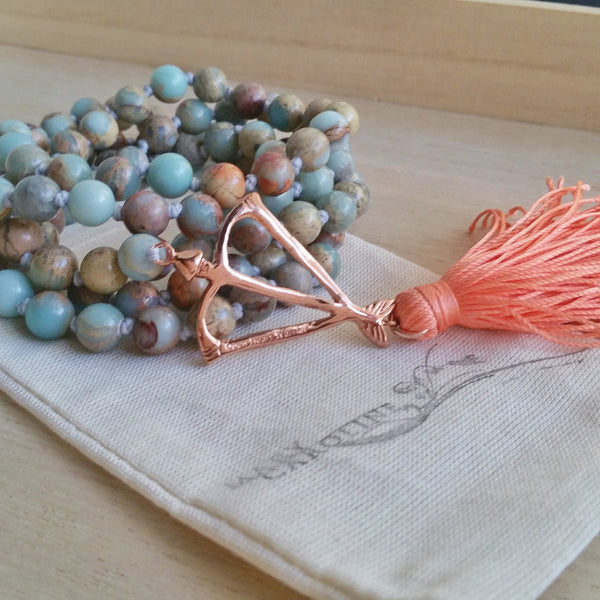 Best Selling Open Heart Warrior I AM POWERFUL Faceted Peruvian Blue Opal Power 108 Mala