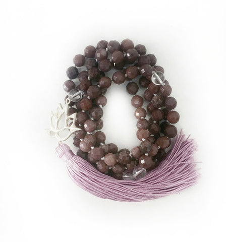 Faceted Purple Aventurine & Quartz Self Mastery Lotus Goddess Mala a KinoYoga Capsule for Open Heart Warrior