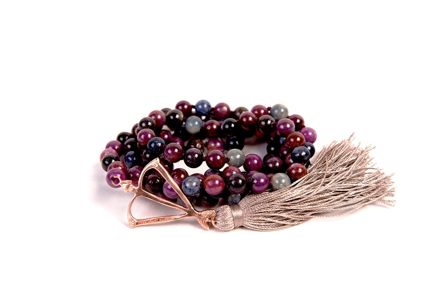 Solid 14k Gold Open Heart Warrior Genuine Ruby and Sapphire Ultimate Power Goddess 108 Mala