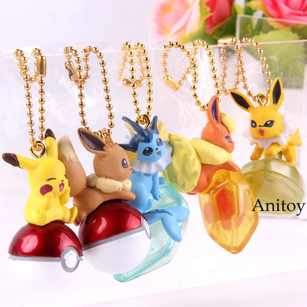 2019 - Eevee Jolteon Vaporeon Flareon Keychain Twinkle Dolly Mini PVC Collection Toys 5pcs/set