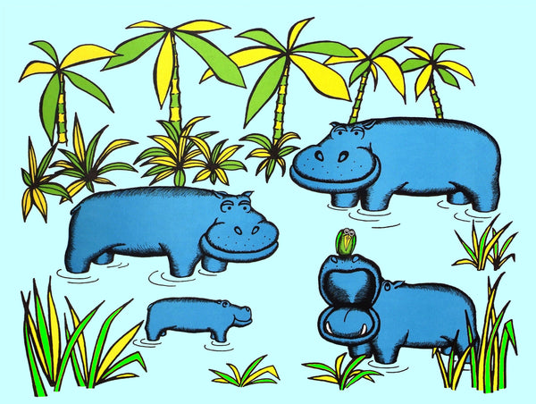 Pack of 4 Hippos in Eau de Nil Greeting Cards