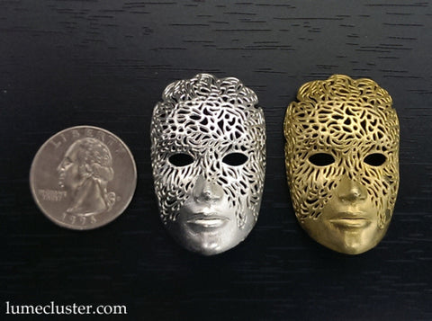 Dreamer Mask Pendant 3d printed Raw silver & brass