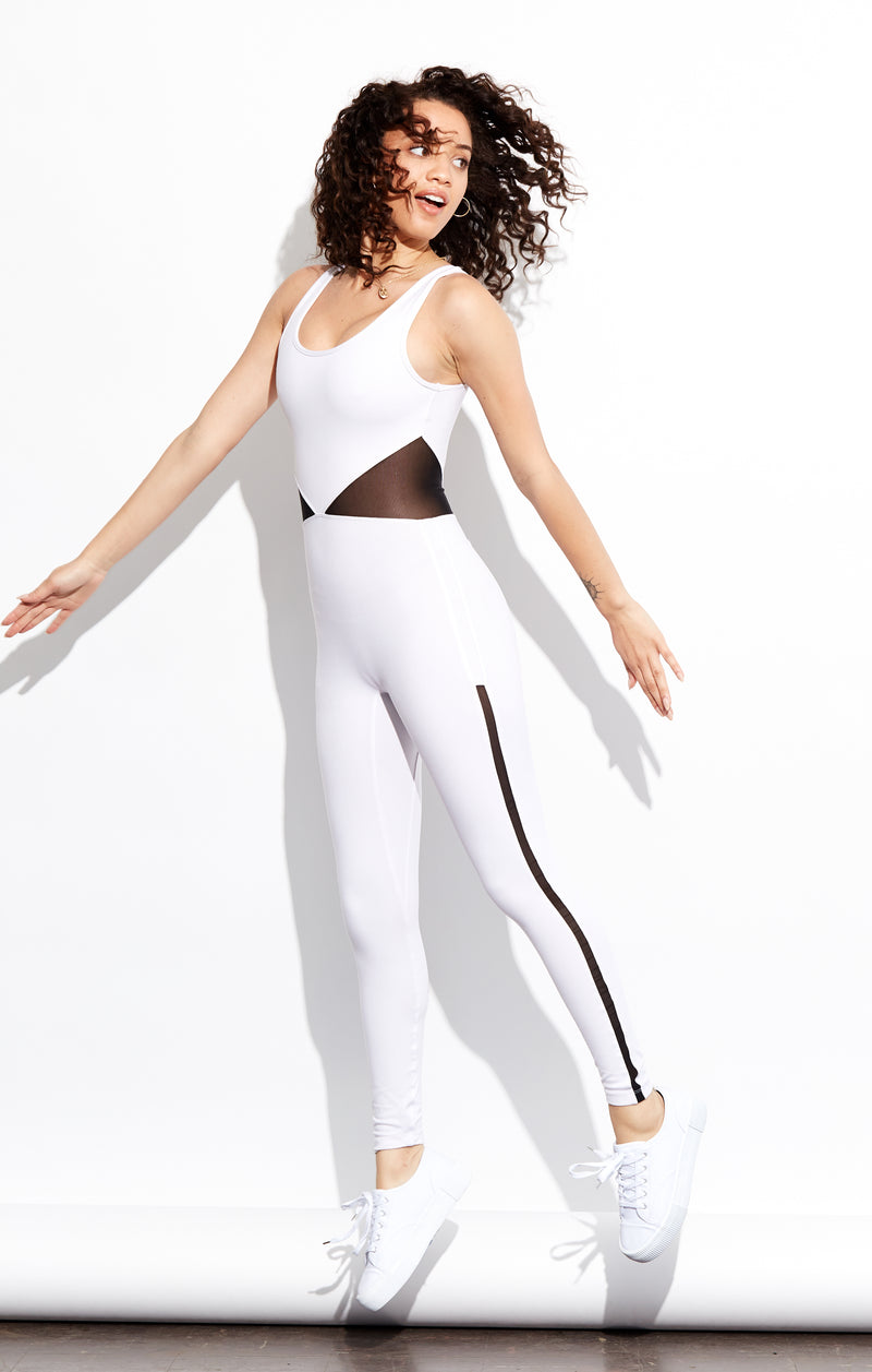 Shama Jade Invisible Luxury Jumpsuit: White & Black Sheer - Shama Jade | Women's Luxury Yoga Jumpsuits and Activewear
