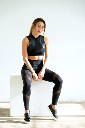 Shama Jade Equinox High-waisted Legging: Black with Shiny Black - Shama Jade | Women's Luxury Yoga Jumpsuits and Activewear