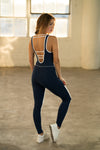 Shama Jade Classic Jumpsuit: Navy with White - Shama Jade | Women's Luxury Yoga Jumpsuits and Activewear
