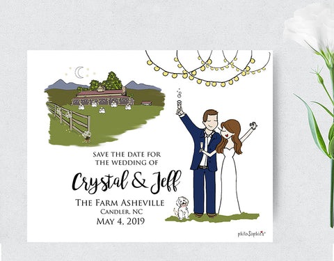 Wedding Save the Date with Couple philoSophie's Illustration & Venue - philoSophie's®