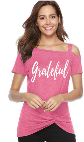 Grateful Cold Shoulder Twist-Knot Hem Tee