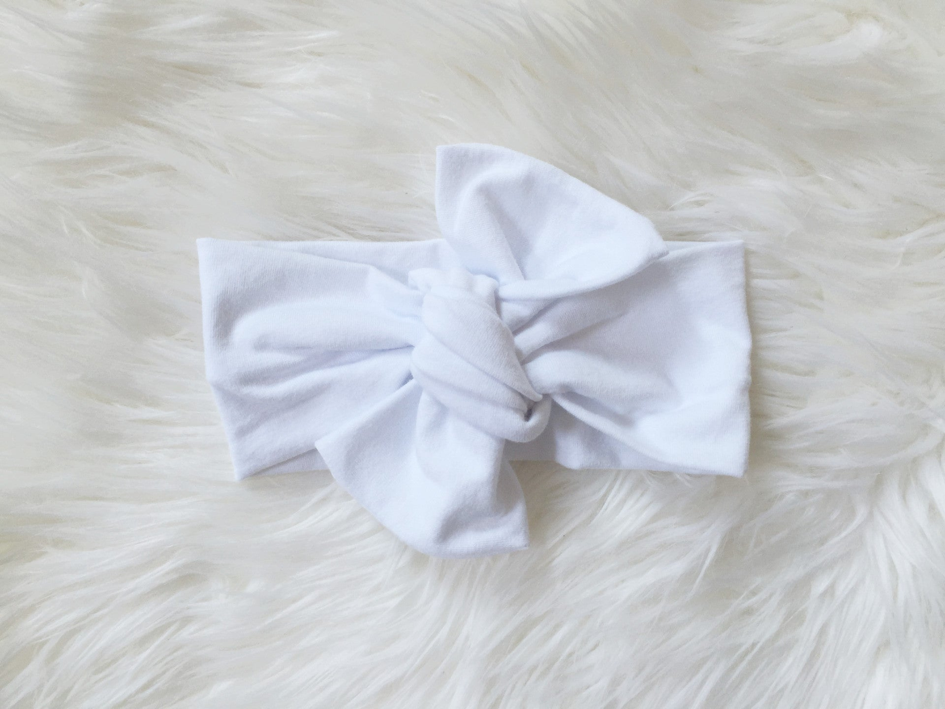 WHITE Top Knot Headwrap