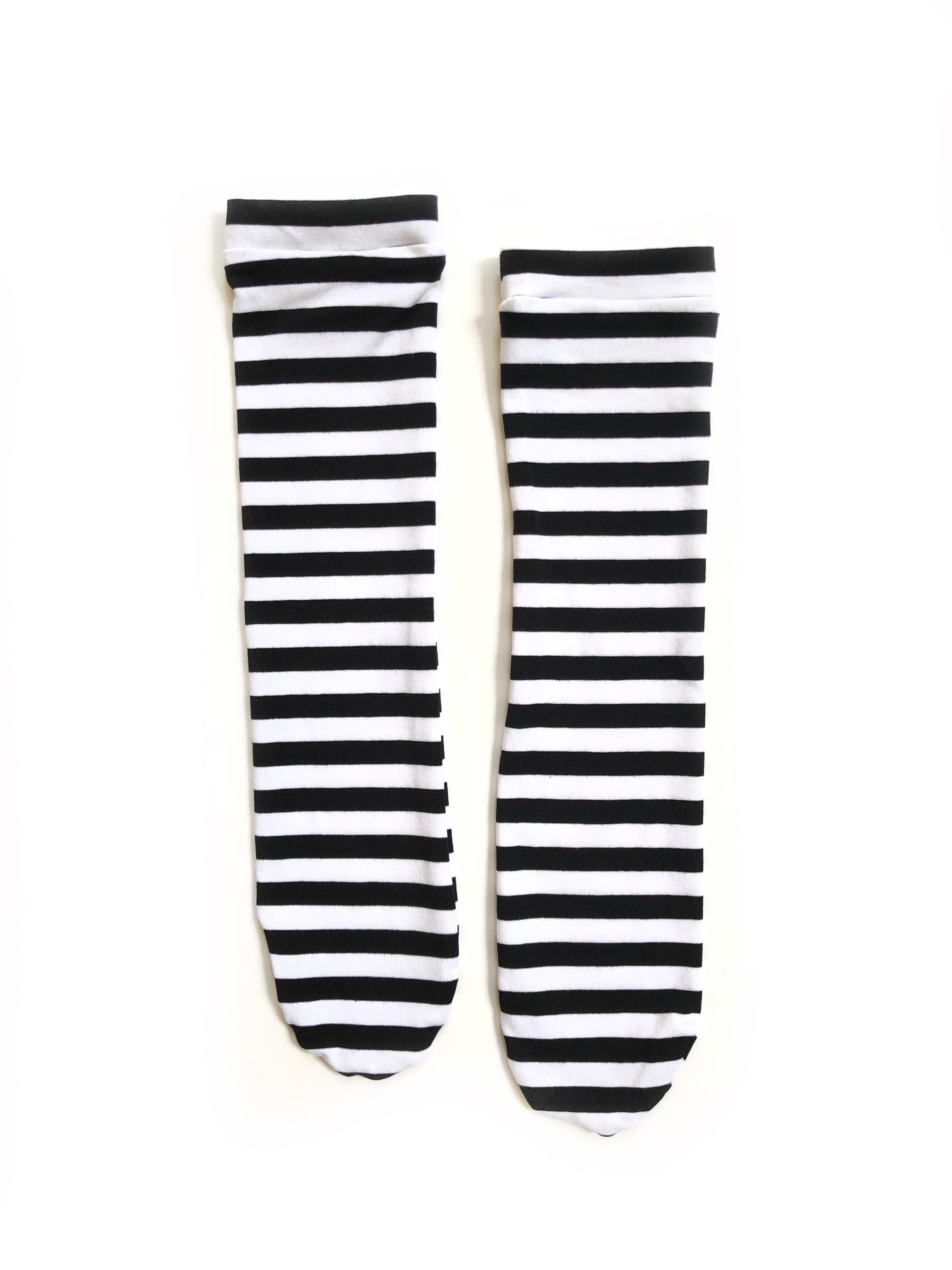 BLACK & WHITE STRIPES Knee High Socks