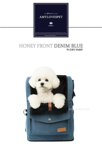 AMYLOVESPET Honey Front Carrier, Denim Blue