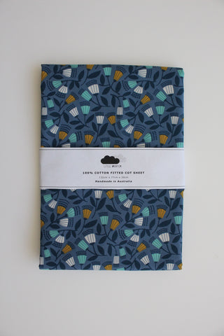 Fitted Cot Sheet - Blue Blossom