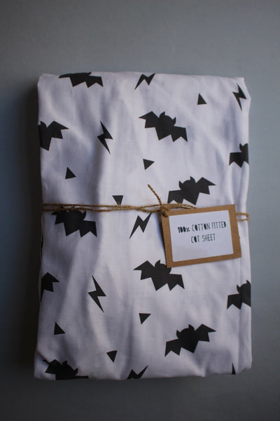 Fitted Cot Sheet - Monochrome Bats - Little Dreamer Australia