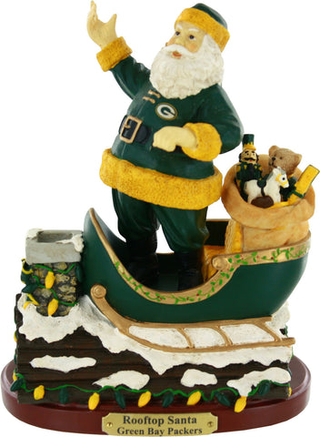"Green Bay Packers 7"" Collectible Rooftop Santa Figurine"