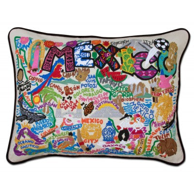 Cat Studio Embroidered Pillow - Mexico