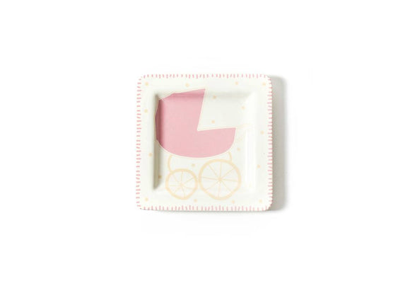 Square Baby Carriage Plate Pink